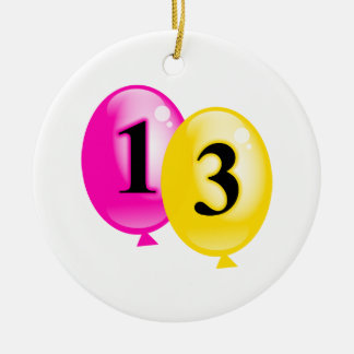 Thirteen Balloons Ceramic Ornament
