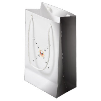 Thirteen Skulls Eerie Orange Sunburst Cross Small Gift Bag