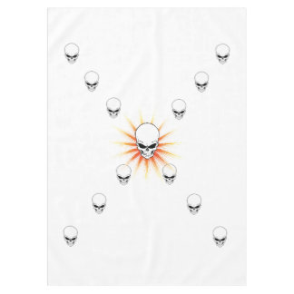 Thirteen Skulls Eerie Orange Sunburst Cross Tablecloth