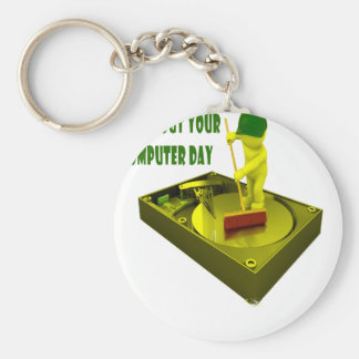 Thirteenth February - Clean Out Your Computer Day Basic Round Button Keychain