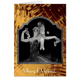 Thirties Dancing Deco Gold Happy Holidays Card