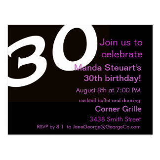 Thirtieth Birthday Party Post Card Invitation