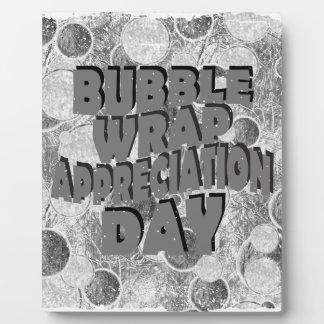 Thirtieth January - Bubble Wrap Appreciation Day Plaque