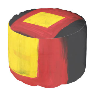 This a Round Pouf that is Red, Yellow and Black.