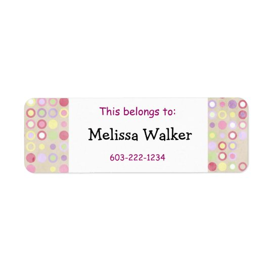 This belongs to - Custom Name Pink Dots Kid's Return Address Label