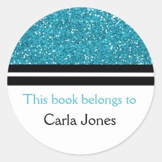 This Book Belongs To Bookplates | Blue Glitter Round Sticker