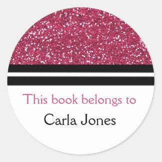 This Book Belongs To Bookplates | Pink Glitter Round Sticker