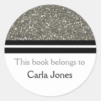 This Book Belongs To Bookplates | Silver Glitter Round Sticker