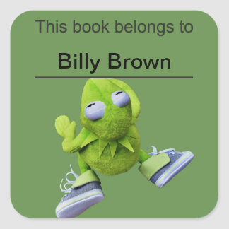 This book belongs to (child's name) with frog square sticker