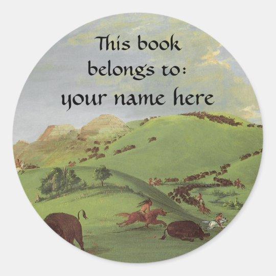 This Book Belongs To ... Fine Art Bookplates Classic Round Sticker