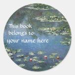 This Book Belongs To ... Fine Art Bookplates Round Sticker