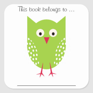 This book belongs to ... (Green owl, Large) Square Sticker