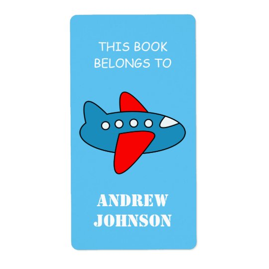 This book belongs to kids airplane bookplate label