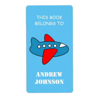 This book belongs to kids airplane bookplate label shipping label