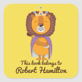 Stickers - This Book Belongs to Lion King with Crown Square Sticker