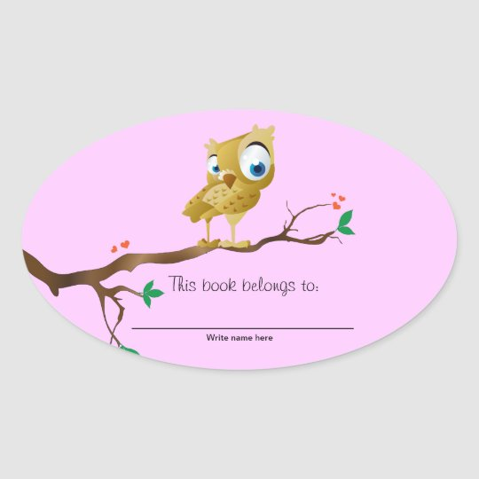 This book belongs to - Owl Bookplates Oval Sticker