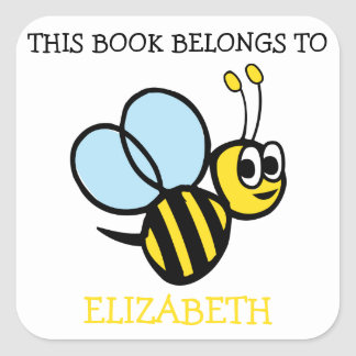 This Book Belongs To Personalized Bumblebee Square Sticker