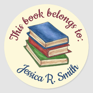 This Book Belongs To Personalized Library School Classic Round Sticker
