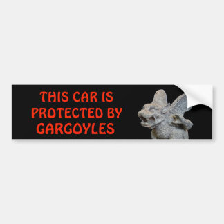 This Car Protected By Gargoyles Red on Black Bumper Sticker