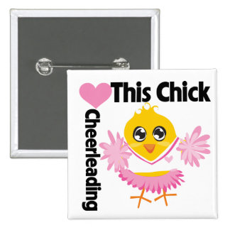 This Chick Loves Cheerleading 2 Inch Square Button
