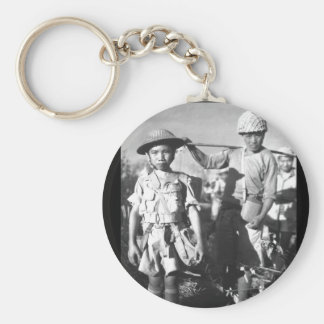 This Chinese soldier, with heavy pack_War Image Basic Round Button Keychain