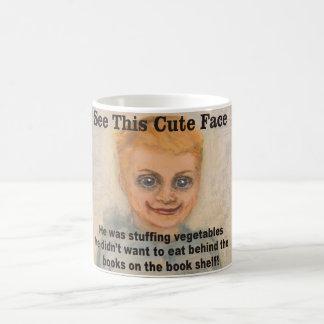 This Cute Face He stuffed vegetables behind books Classic White Coffee Mug