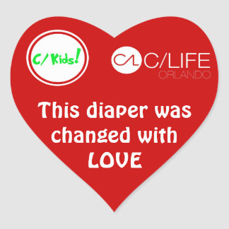 This Diaper Was Changed With Love Heart Sticker