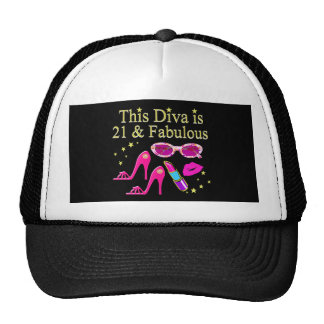 THIS DIVA IS 21 AND FABULOUS DESIGN TRUCKER HAT