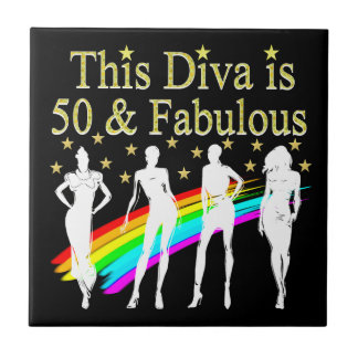 THIS DIVA IS 50 AND FABULOUS 50TH BIRTHDAY CERAMIC TILES