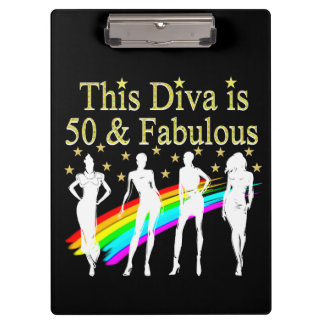 THIS DIVA IS 50 AND FABULOUS 50TH BIRTHDAY CLIPBOARD