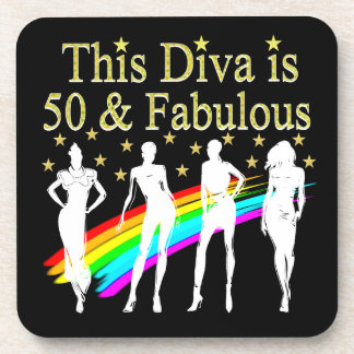 THIS DIVA IS 50 AND FABULOUS 50TH BIRTHDAY COASTERS