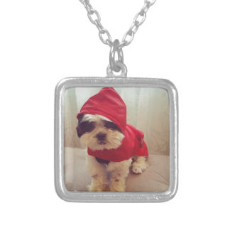 This dog hates rain silver plated necklace
