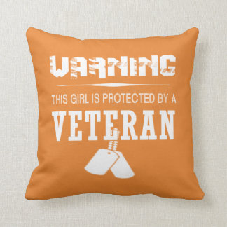 This Girl Is Protected By A Veteran Throw Pillow