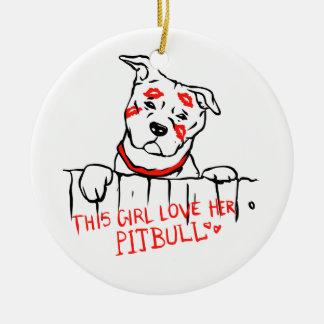 This girl love her pitbull ceramic ornament