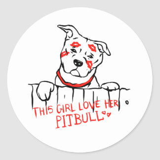This girl love her pitbull classic round sticker