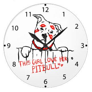This girl love her pitbull large clock