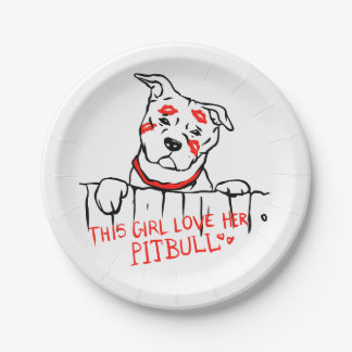 This girl love her pitbull paper plate