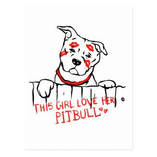 This girl love her pitbull postcard