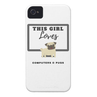 This Girl Loves Computers & Pugs iPhone 4 Case
