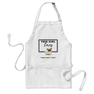 This Girl Loves Computers & Pugs Standard Apron