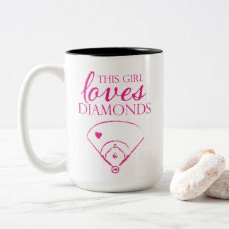 This Girl Loves Diamonds Baseball/Softball Mug