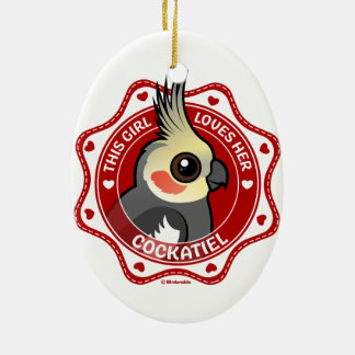 This Girl Loves Her Cockatiel Ceramic Ornament