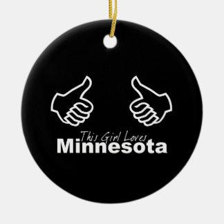 This Girl Loves Minnesota Round Ceramic Ornament