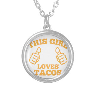 This Girl Loves Tacos Silver Plated Necklace