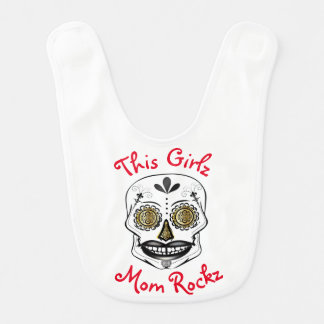 This Girlz Mom Rocks Black Candy Skull Custom Bib