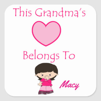 This Grandma's Heart Belongs To Square Sticker