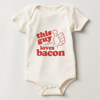 This Guy Loves Bacon Baby Bodysuits