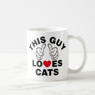 THIS GUY LOVES CATS COFFEE MUG