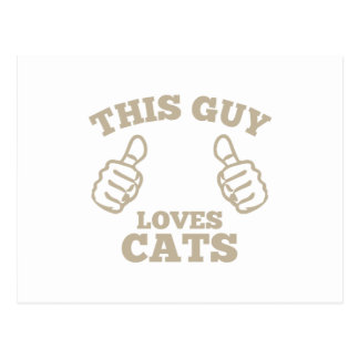 This Guy Loves Cats Postcard