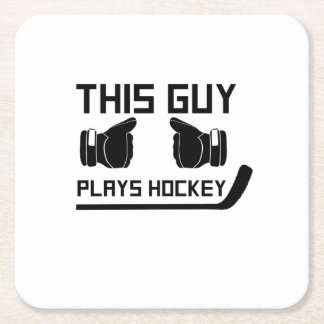 This Guy Plays Hockey Lover Funny Gifts Square Paper Coaster